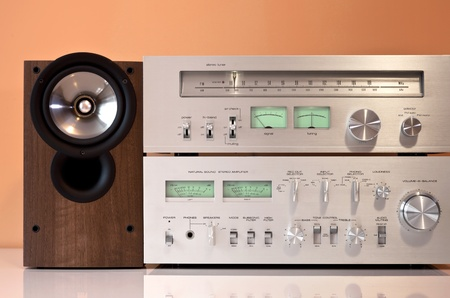 Stereo hifi system with amplifier, radio tuner and loudspeakers photo