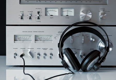 Vintage Stereo Amplifier with Headphones Stock Photo