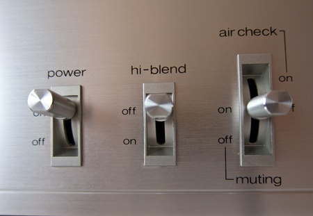 Analog electrical switch tumbler control closeup