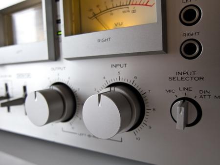 Analog Signal VU Meter and input level control closeup