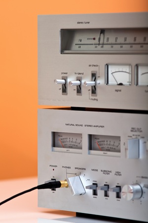 Vintage Stereo Amplifier and Tuner closeup photo