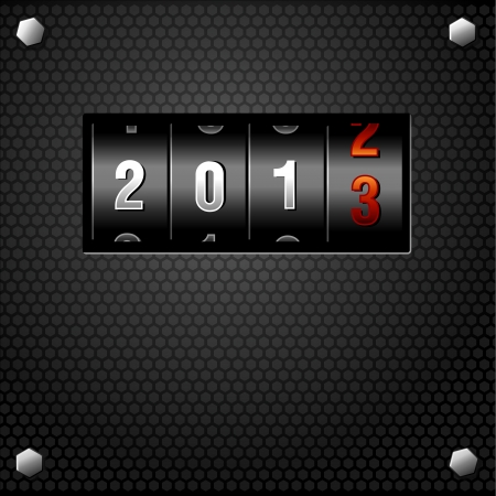 2013 New Year Analog Counter detailed  Vector