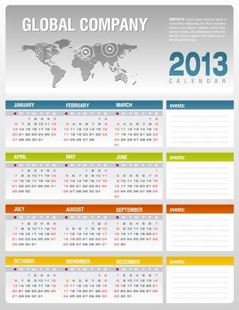 2013 bedrijven kalendersjabloon Stock Illustratie