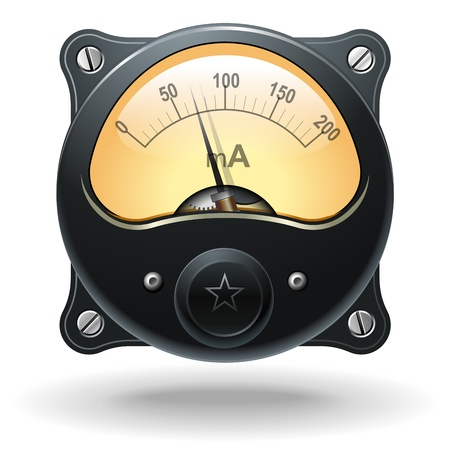 Electronic analog VU signal meter, realistic vector