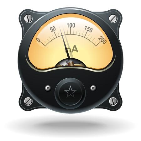 Electronic analog VU signal meter, realistic vector Vector