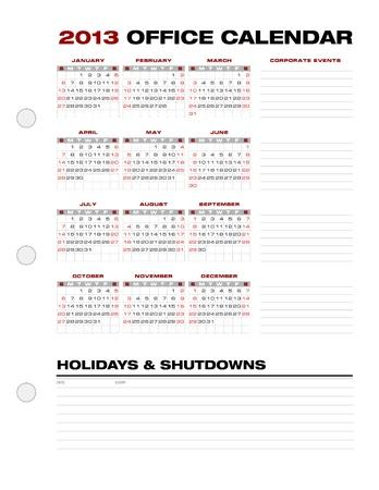 2013 corporate office calendar template grid Vector