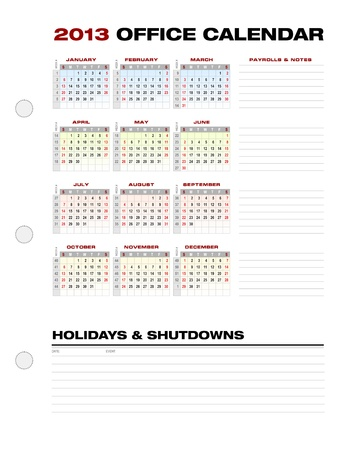 2013 accounting office calendar template grid, with week numbers Vector