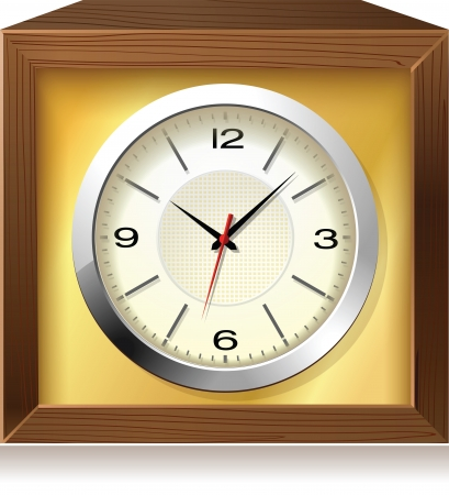 Retro analog clock in wooden box, detailed