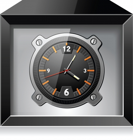 Retro analog clock in black box, detailed  向量圖像