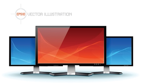 lcd tv: Flat lcd tv monitor, detailed  Illustration