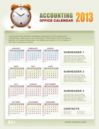 calendar page: 2013 accounting corporate office calendar template grid with week numbers Illustration