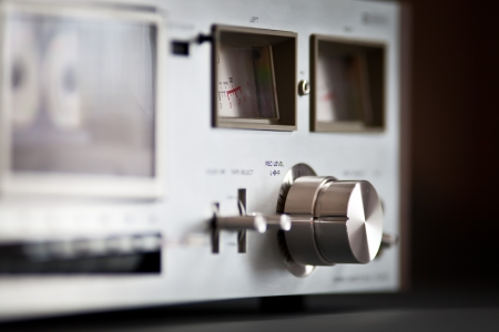 Stereo Cassette Tape Deck Analog Vintage recording knob closeup
