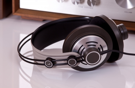 audio: Headphones connected to audio stereo devices closeup