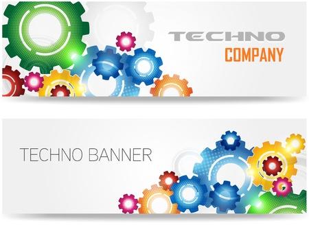 Technologie Kleurrijke Gears Banner Stock Illustratie
