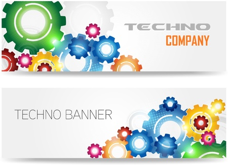 cog: Technology Colorful Gears Banner