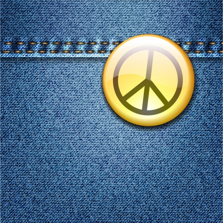 banner of peace: Bright Colorful Peace Badge on Denim Fabric Texture Jacket Illustration