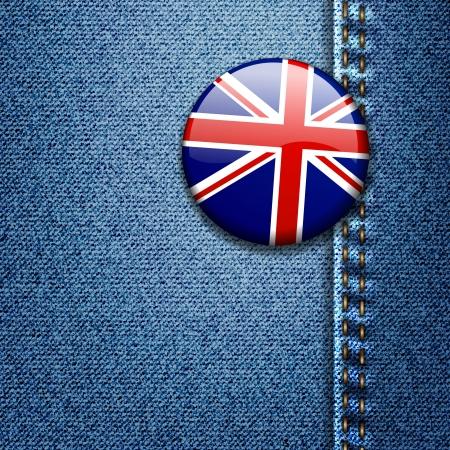 UK Bright Colorful British Flag Badge on Denim Fabric Texture Jacket