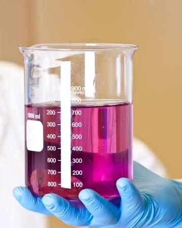 dissolution: Scinetist Hand holding Chemistry lab beaker with permanganate Stock Photo