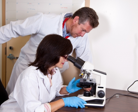 Scientists coworkers researching micro smaples using microscope photo