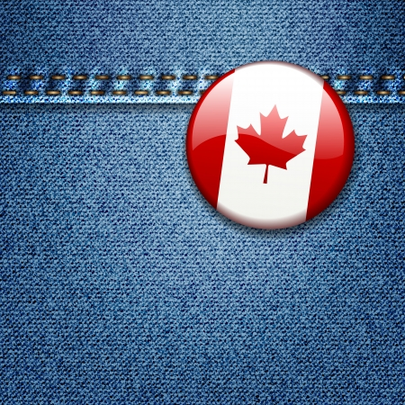 canadian flag: Bright Colorful Canadian Flag Badge on Denim Fabric Texture Jacket Illustration