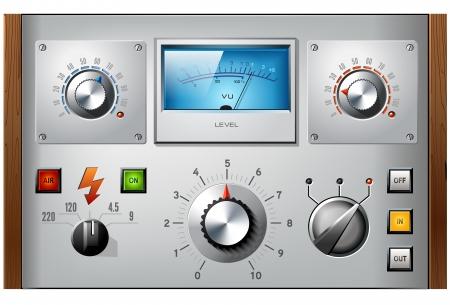 Analoge controle interface-elementen set, vector, met inbegrip van VU-meter, drukknoppen en schakelaars.