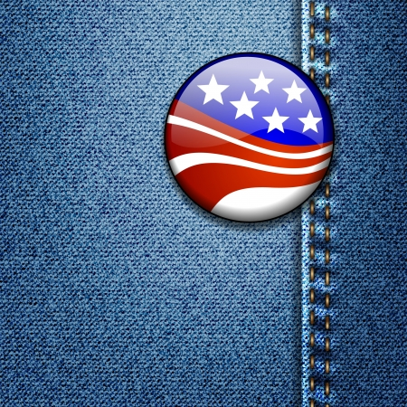 American Flag Badge On Jeans Denim Texture Vector Stock Vector - 16565729