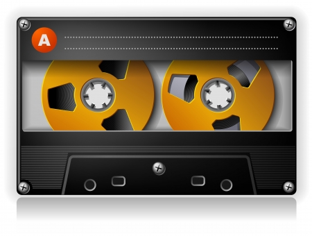 Analog Music Stereo Audio Compact Cassette with metal reels Stock Vector - 16587362