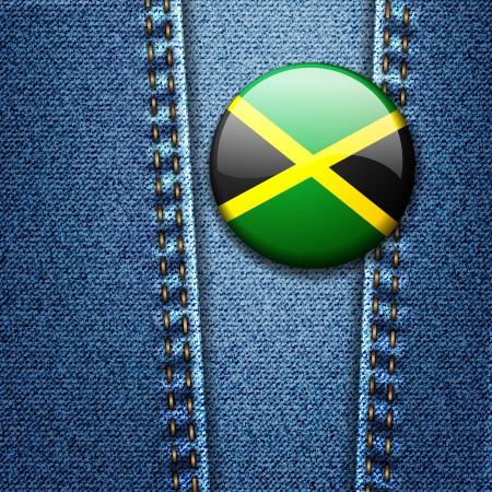 Jamaica Flag Badge On Jeans Denim Texture