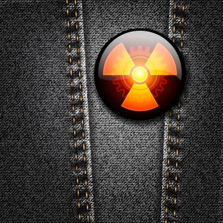 Radioactivity badge on black denim texture Stock Vector - 16664155