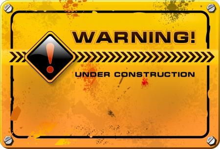 건설, 노란색 grunge 경고 기호 아래