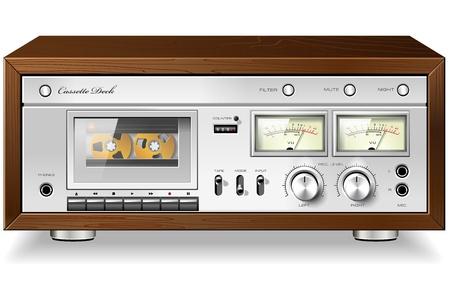 hifi: Vintage HI-Fi analog stereo cassette tape deck recorder player detailed vector Illustration