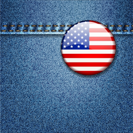 Bright Colorful USA Flag Badge on Denim Fabric Texture