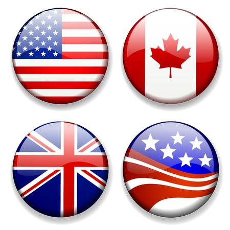 canada flag: Colorful flag badges icons Illustration