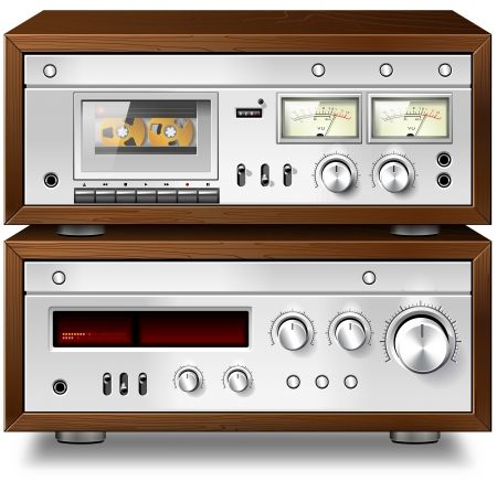 Analog Music Stereo Audio Compact Cassette Deck with Amplifier vintage rack Banco de Imagens
