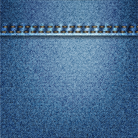 Blue Jeans Denim Fabric Texture With Stitch Stock Photo - 17584089