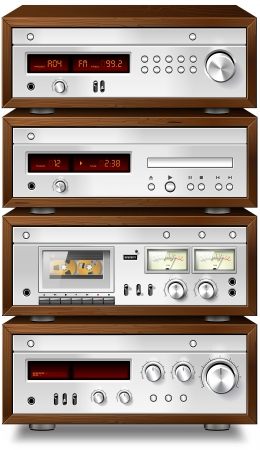 tuner: Vintage stereo cassette tape deck recorder CD player tuner amplifier rack