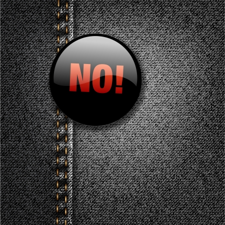 denial: NO Word Dark Badge on Black Denim Jeans Fabric Texture