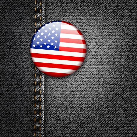 American Flag Badge On Jeans Denim Texture  Stock Vector - 17584118