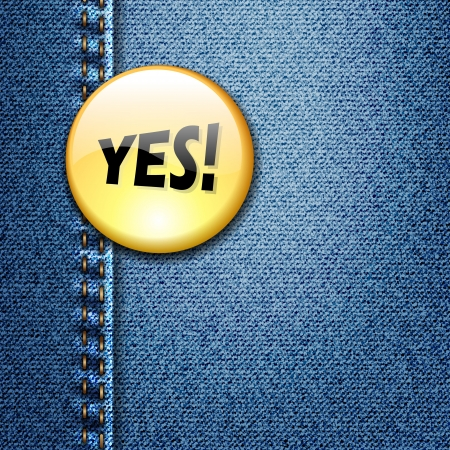 Bright Colorful Badge with word YES  on Denim Fabric Texture  Иллюстрация
