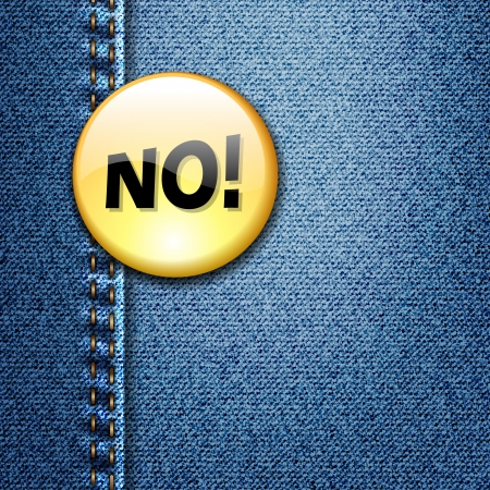 Bright Colorful Badge with word NO  on Denim Fabric Texture Stock Vector - 17707579