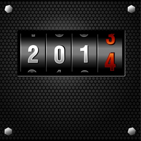 schedule system: 2014 New Year Analog Counter detailed vector Illustration