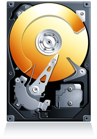 hard: Hard disk drive HDD realistic detailed vector