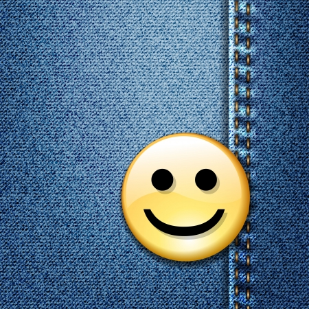 Happy smiley face badge on blue denim Stock Vector - 17707583