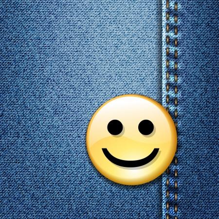 Happy smiley face badge on blue denim 向量圖像