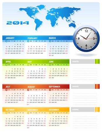 2014 Corporate Calendar clean Stock Vector - 17966755