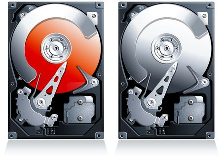sata: Hard disk drive HDD realistic detailed illustration clipart