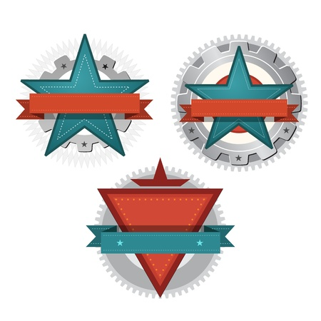 Vintage Seal Retro Technology Star Emblem vector, set of 3 Stock Photo - 18025859