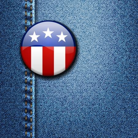 American Flag Emblem Badge On Jeans Denim Texture Stock Vector - 18116021