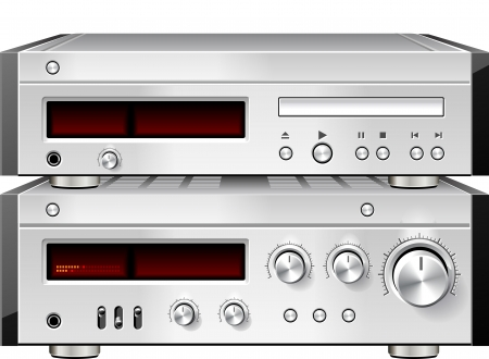 Music Stereo Audio Compact Disc CD Player with Amplifier rack Stock Photo - 18150102