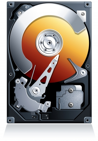 hard disk drive: Unit? disco rigido HDD realistico dettagliate Vettoriali